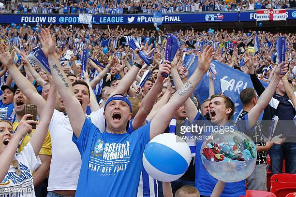 Sheffield Wednesday fans cheer before kick off of the English Championship playoff final football match between Hull City and Sheffield Wednesday at...