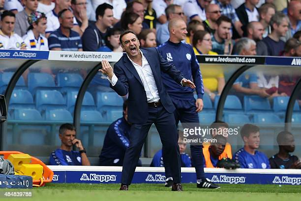 Sheffield Wednesday FC head coach Carlos Carvalhal communicates to players on the field during the Sky Bet Championship match between Leeds United...