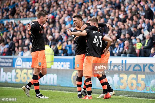 Sheffield Wednesday players celebrate after Fernando Forestieri scores the opening goal from a penalty during the Sky Bet Championship match between...