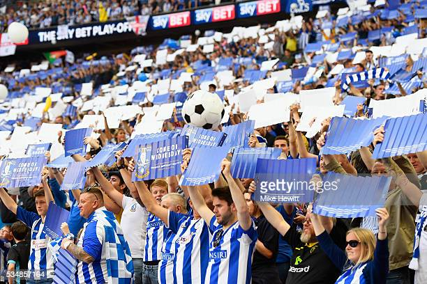Sheffield Wednesday supporters enjoy the atmosphere prior to Sky Bet Championship Play Off Final match between Hull City and Sheffield Wednesday at...