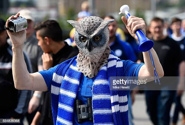 Sheffield Wednesday wearing owl mask is seen prior to Sky Bet Championship Play Off Final match between Hull City and Sheffield Wednesday at Wembley...
