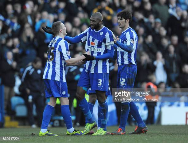 Sheffield Wednesday's Caolan Lavery celebrates with Reda Johnson and Miguel Llera after scoring his side's sixth goal during the Sky Bet Championship...