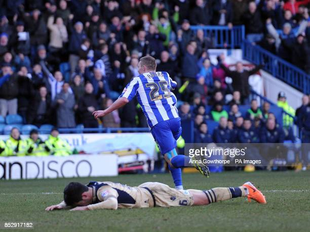 Sheffield Wednesday's Caolan Lavery turns to celebrate after scoring his side's fifth goal as Leeds United's Alex Mowatt cannot look during the Sky...