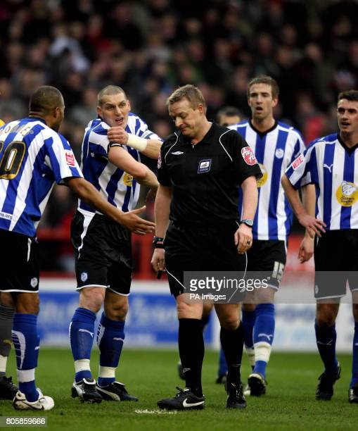 Sheffield Wednesday's Darren Purse appeals to referee Trevor Kettle after conceding a penalty during the CocaCola Championship match at the City...
