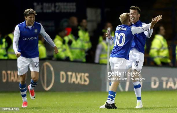 Sheffield Wednesday's David Jones celebrates scoring his side's first goal of the game during the Sky Bet Championship match at Hillsborough Sheffield