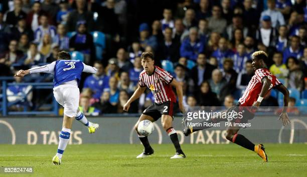 Sheffield Wednesday's David Jones scores his side's first goal of the game during the Sky Bet Championship match at Hillsborough Sheffield