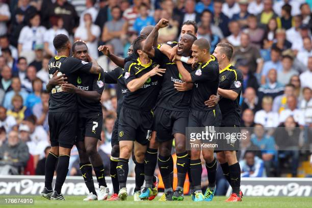 Sheffield Wednesday's Kamil Zayatte celebrates the opening goal during the Sky Bet Championship match between Leeds United and Sheffield Wednesday at...