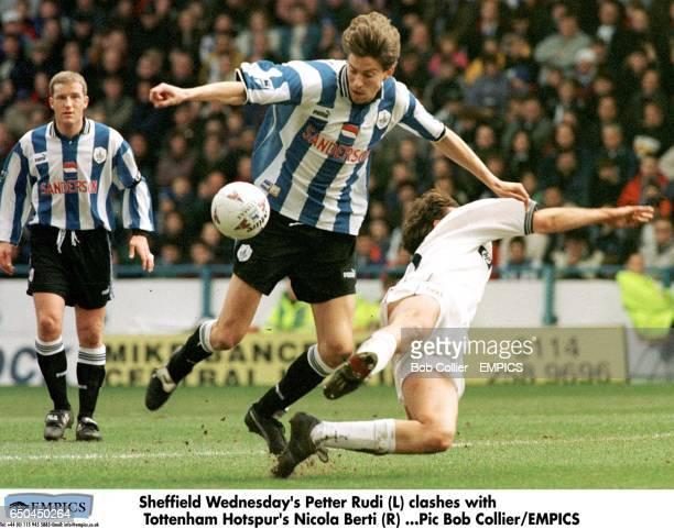 Sheffield Wednesday's Petter Rudi clashes with Tottenham Hotspur's Nicola Berti