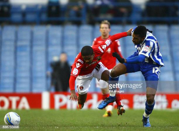 Sheffield Wednesday's Reda Johnson and Charlton Athletic's Bradley Pritchard battle for the ball during the npower League One match at Hillsborough...