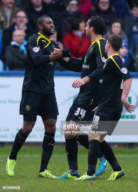 Sheffield Wednesday's Reda Johnson celebrates heading his side into the lead during the FA Cup Third Round match at Moss Rose Macclesfield