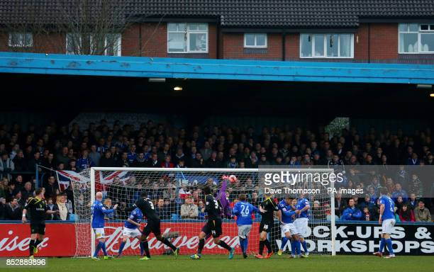Sheffield Wednesday's Reda Johnson heads his side into the lead during the FA Cup Third Round match at Moss Rose Macclesfield