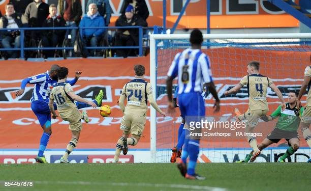 Sheffield Wednesday's Reda Johnson scores the opening goal during the Sky Bet Championship match at Hillsborough Sheffield