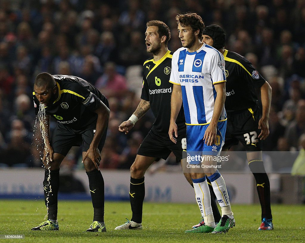 Sheffield's Jose Semedo vomits during the Sky Bet Championship match between Brighton Hove Albion and Sheffield Wednesday at The Amex Stadium on...