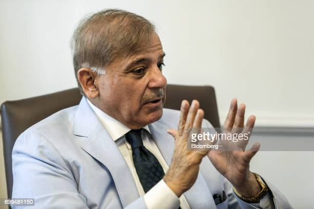 Shehbaz Sharif Pakistan's chief minister of the province of Punjab speaks during an interview in Lahore Pakistan on Tuesday June 13 2017 Pakistan...