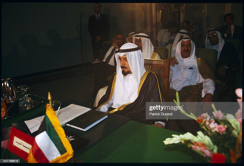 Sheik Jaber Ahmad alSabah at an Arab summit meeting held to broker peace negotiations between Iraq and Kuwait