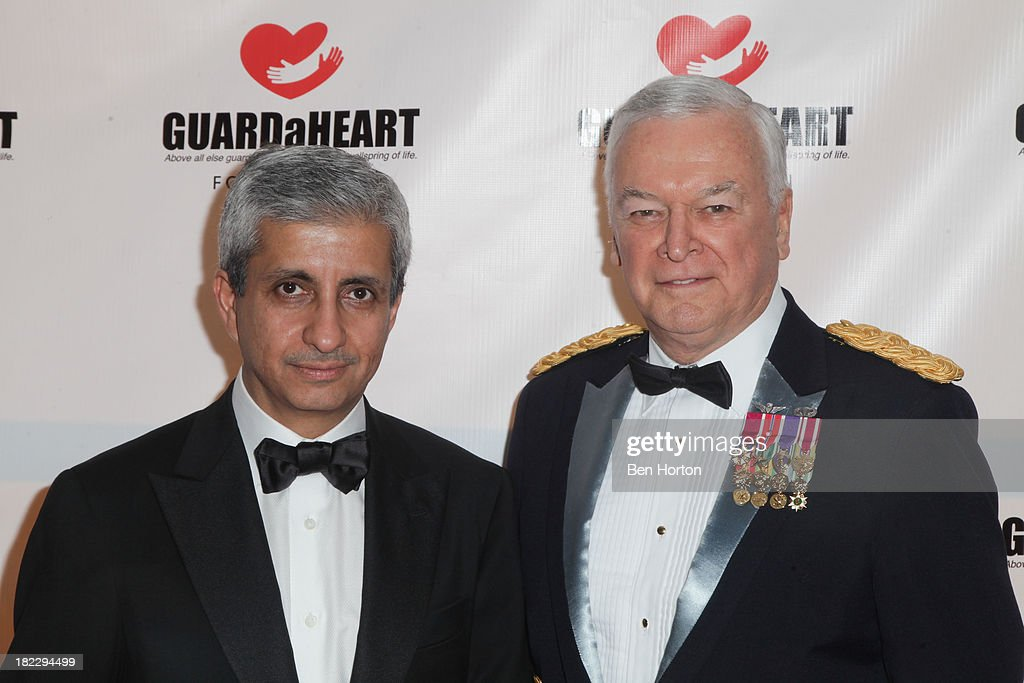 Sheik Khalid Bin Jabor Al Thani and Col. Charles Soltes attend the GUARDaHEART Foundation World Heart Day 2013 celebration gala on September 28, 2013 in Santa Ana, California.