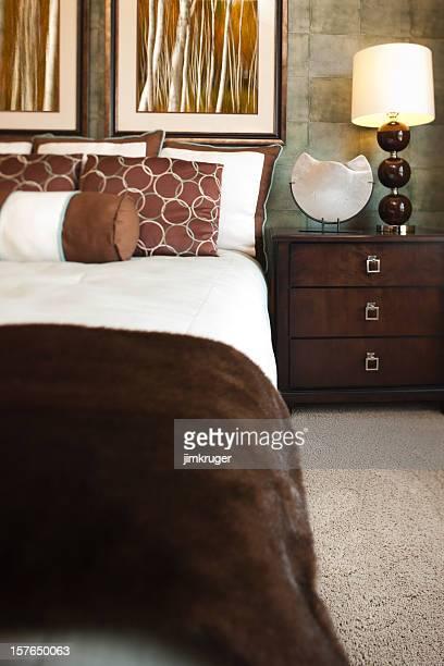 Sheik master bedroom in modern home.