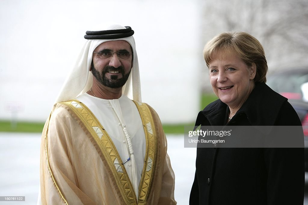 GERMANY, BERLIN, Sheik Mohammed bin RASHID Al MAKTOUM, Premierminister of the United Arab Emirates during his state visit in Germany, and Angela MERKEL, (CDU) German chancellor and federal party chairwoman.