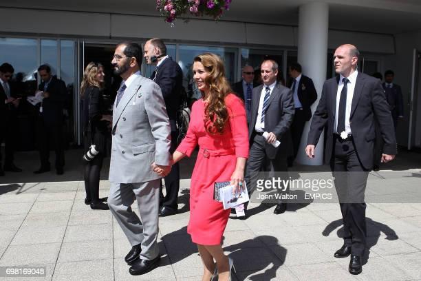 Sheik Mohammed Bin Rashid Al Maktoum with his wife Princess Haya at Epsom Downs Racecourse
