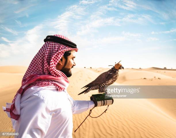 sheik with the falcon in the desert