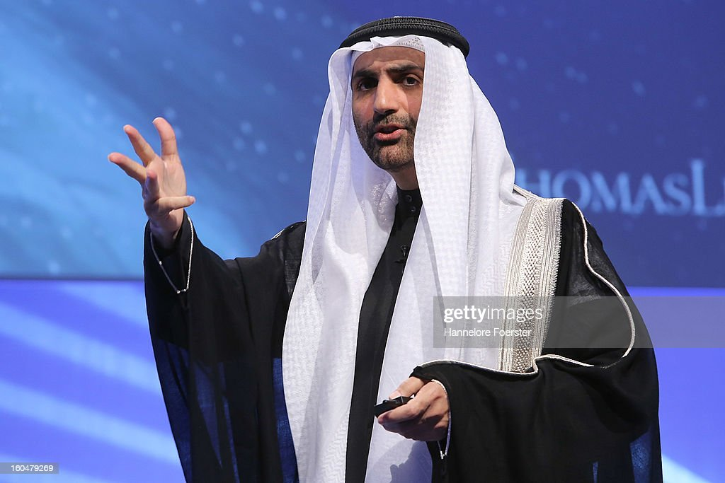 Sheikh Abdul Aziz bin Ali Al Nuaimi of Ajman addresses the Thomas Lloyd Cleantech Congress, on February 1, 2013 in Frankfurt am Main, Germany. Technology and trends in renewable energies are up for discussion during the congress.