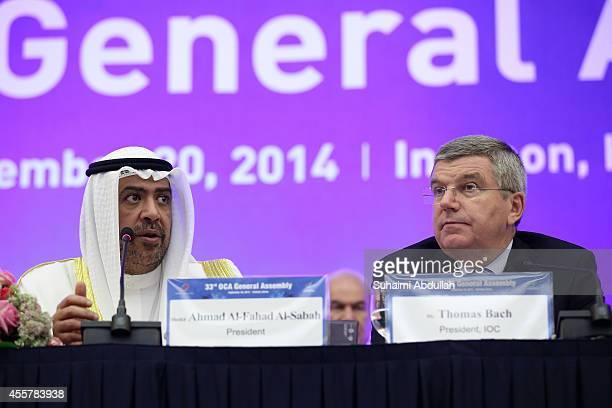 Sheikh Ahmad AlFahad AlSabah OCA President speaks as Thomas Bach IOC President looks on during the OCA General Assembly at the Songdo Convensia on...
