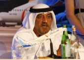Sheikh Ahmed bin Saeed alMaktoum chairman of Dubai Airports Emirates Airlines and the lowcost carrier flydubai speaks during a press conference in...