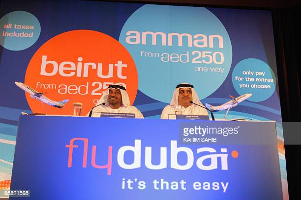 Sheikh Ahmed bin Saeed alMaktoum chairman of Dubai Airports Emirates Airlines and the new flydubai budget airline sits next to Ghaith alGhaith...