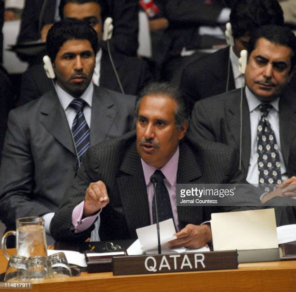 HE Sheikh Hamad bin Jassem bin Jabr AlThani first deputy Prime Minister and Foreign minister of Qatar addresses the UN Security Council in response...