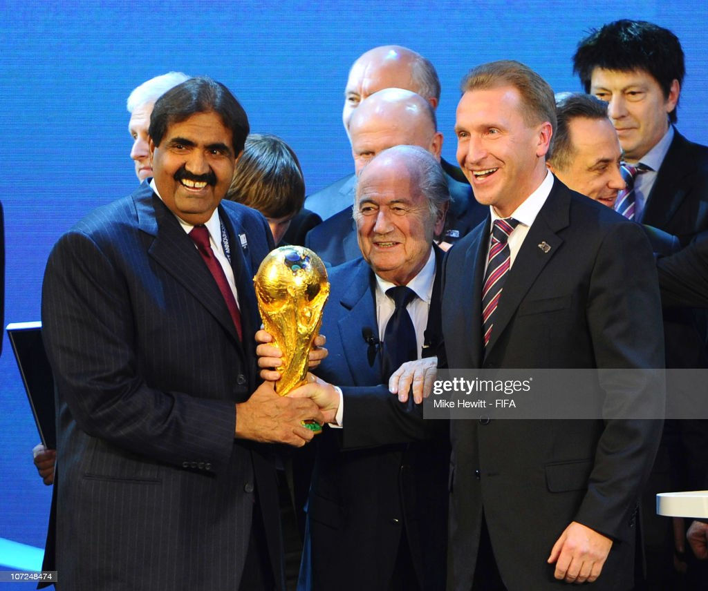 Sheikh Hamad bin Khalifa Al-Thani the Emir of Qatar and Deputy Russia Prime Minister Igor Shuvalov hold the FIFA World Cup trophy with FIFA President Joseph S. Blatter after Russia were awarded the 2018 World Cup and Qatar the 2022 World Cup on December 2, 2010 in Zurich, Switzerland.
