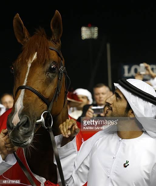 Sheikh Hamdan bin Mohammad bin Rashid alMaktoum Crown Prince of Dubai looks at his father's horse African Story after it won the Dubai World Cup the...