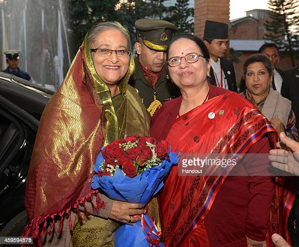 Sheikh Hasina Prime Minister of Bangladesh arrives at Soaltee Hotel on November 25 2014 in Kathmandu Nepal On 2627 November Nepal will be hosting the...