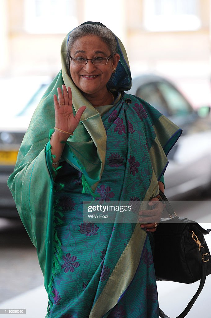 Sheikh Hasina, Prime Minister of Bangladesh, arrives for a London 2012 Olympic Games reception, hosted by Britain's Queen Elizabeth II, at Buckingham Palace on July 27, 2012 in London, England.