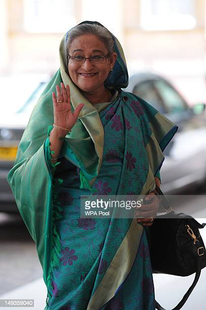 Sheikh Hasina Prime Minister of Bangladesh arrives for a London 2012 Olympic Games reception hosted by Britain's Queen Elizabeth II at Buckingham...