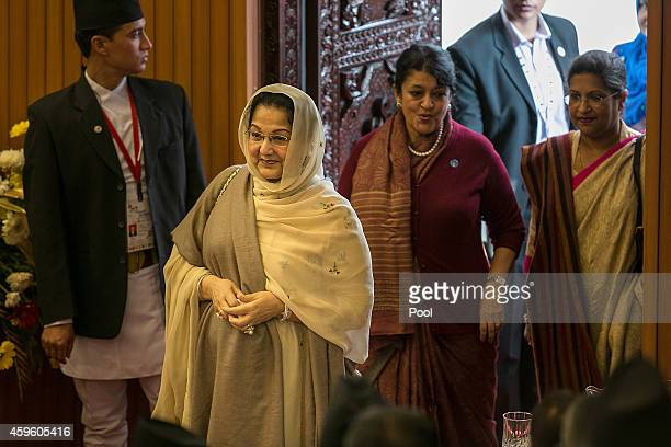 Sheikh Hasina Prime Minister of Bangladesh enters KathmanduÕs City Hall for the inaugural session of the 18th SAARC Summit on November 26 2014 in...