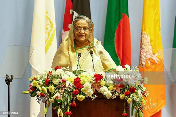 Sheikh Hasina Prime Minister of Bangladesh gives a speech during the inaugural session of the 18th SAARC Summit on November 26 2014 in Kathmandu...