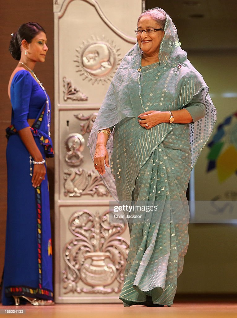 Sheikh Hasina Prime Minister of Bangladesh on stage at the Commonwealth Heads of Government 2013 Opening Ceremony on November 15, 2013 in Colombo, Sri Lanka. The biannual Commonwealth Heads of Government Meeting (CHOGM) is taking place from November 15-17, amid pressure from human rights groups urging leaders to boycott the summit until Sri Lanka further investigates charges of war crimes. Both the Canadian Prime Minister, Stephen Harper and Indian Prime Minister, Manmohan Signh have confirmed they will not attend.