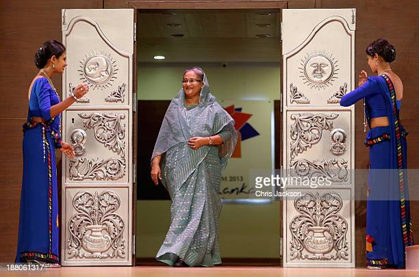 Sheikh Hasina Prime Minister of Bangladesh on stage at the Commonwealth Heads of Government 2013 Opening Ceremony on November 15 2013 in Colombo Sri...