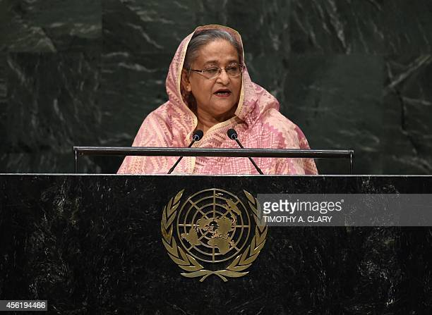Sheikh Hasina Prime Minister of the Peoples Republic of Bangladesh speaks during the 69th Session of the UN General Assembly September 27 2014 in New...