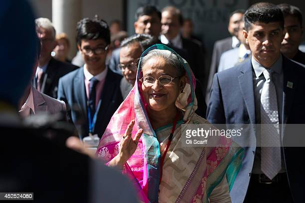 Sheikh Hasina the Prime Minister of Bangladesh arrives to attend the 'Girl Summit 2014' in Walworth Academy on July 22 2014 in London England At the...