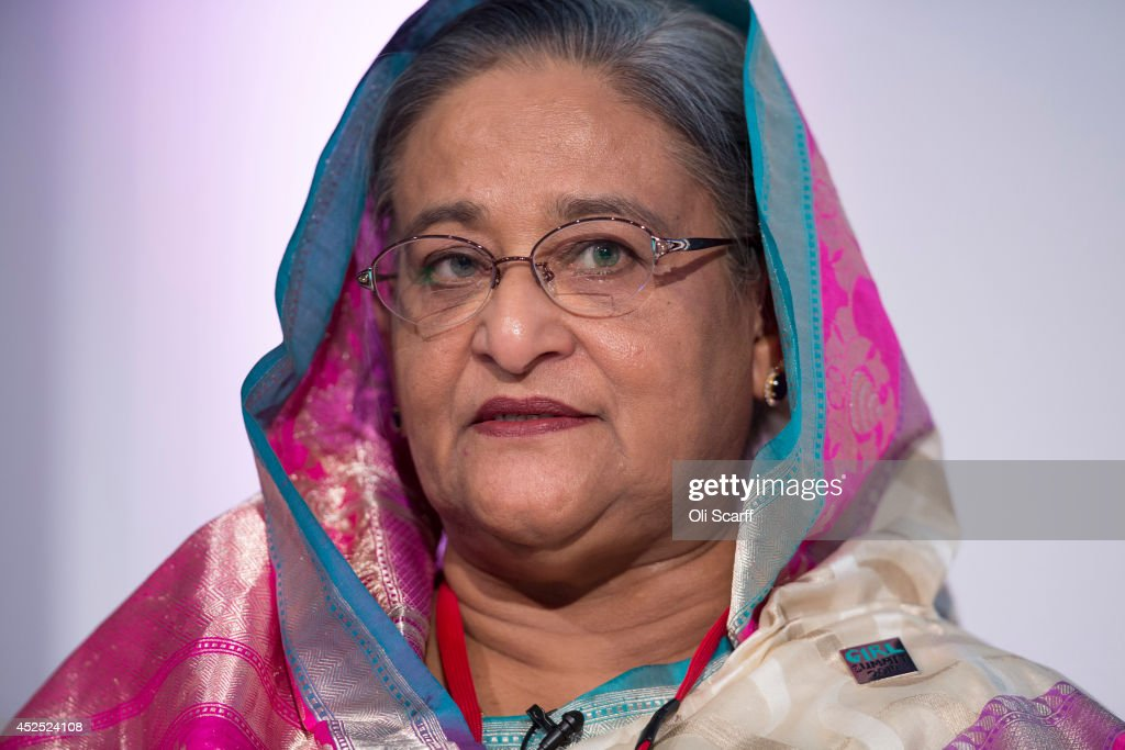 Sheikh Hasina, the Prime Minister of Bangladesh, speaks at the 'Girl Summit 2014' in Walworth Academy on July 22, 2014 in London, England. At the one-day summit the government has announced that parents will face prosecution if they fail to prevent their daughters suffering female genital mutilation (FGM).