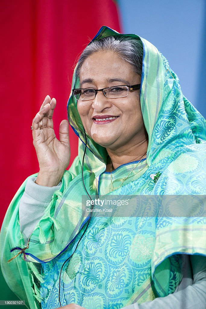 <a gi-track='captionPersonalityLinkClicked' href=/galleries/search?phrase=Sheikh+Hasina+Wajed&family=editorial&specificpeople=542553 ng-click='$event.stopPropagation()'>Sheikh Hasina Wajed</a>, Bangladesh's prime minister, attends a press conference with German Chancellor Angela Merkel at the Chancellory on October 25, 2011 in Berlin, Germany. <a gi-track='captionPersonalityLinkClicked' href=/galleries/search?phrase=Sheikh+Hasina+Wajed&family=editorial&specificpeople=542553 ng-click='$event.stopPropagation()'>Sheikh Hasina Wajed</a> visits Germany during a state visit.