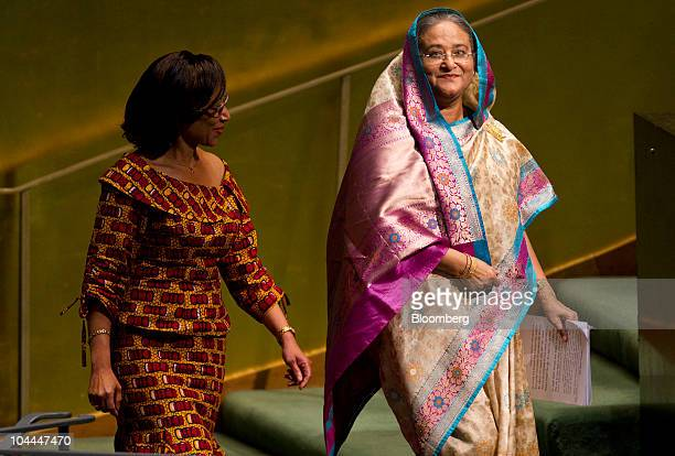 Sheikh Hasina Wajed prime minister of Bangladesh arrives to speak during the 65th annual United Nations General Assembly at the UN in New York US on...
