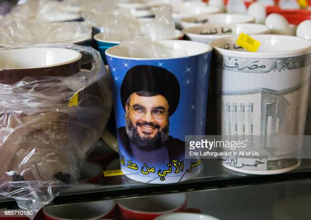 Sheikh Hassan Nasrallah mug in the hezbollah souvenirs shop in the tourist landmark of the resistance South Governorate Mleeta Lebanon on May 4 2017...