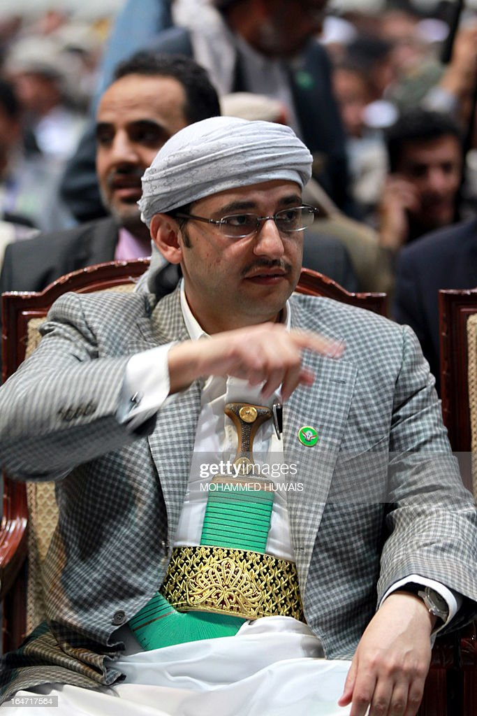 Sheikh Hussein Bin Abdullah al-Ahmar, head of the recently founded National Solidarity Party, attends the first congressional meeting of the party in Sanaa, on March 27, 2013.