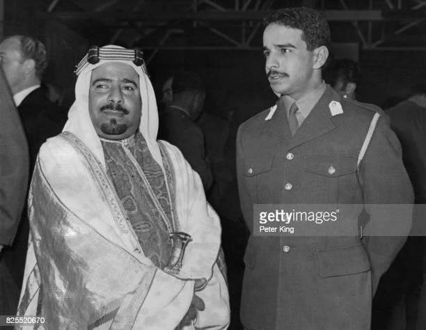 Sheikh Isa bin Salman Al Khalifa the 1st Emir of Bahrain visits his son and heir to the throne Sheikh Hamad Bin Isa Al Khalifa at the Mons Officer...
