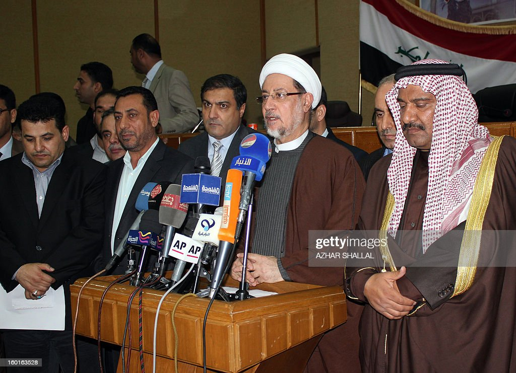Sheikh Khaled al-Attiya, the head of the parliamentary committee assigned to investigate the unrest in the town of Fallujah, a predominantly Sunni town 60 kilometres (35 miles) west of Baghdad, speaks to the press on January 27, 2013. Iraqi MPs assigned to investigate the killing of eight anti-government protesters by troops appealed for calm on a visit to the town pledging to publish their findings within days.