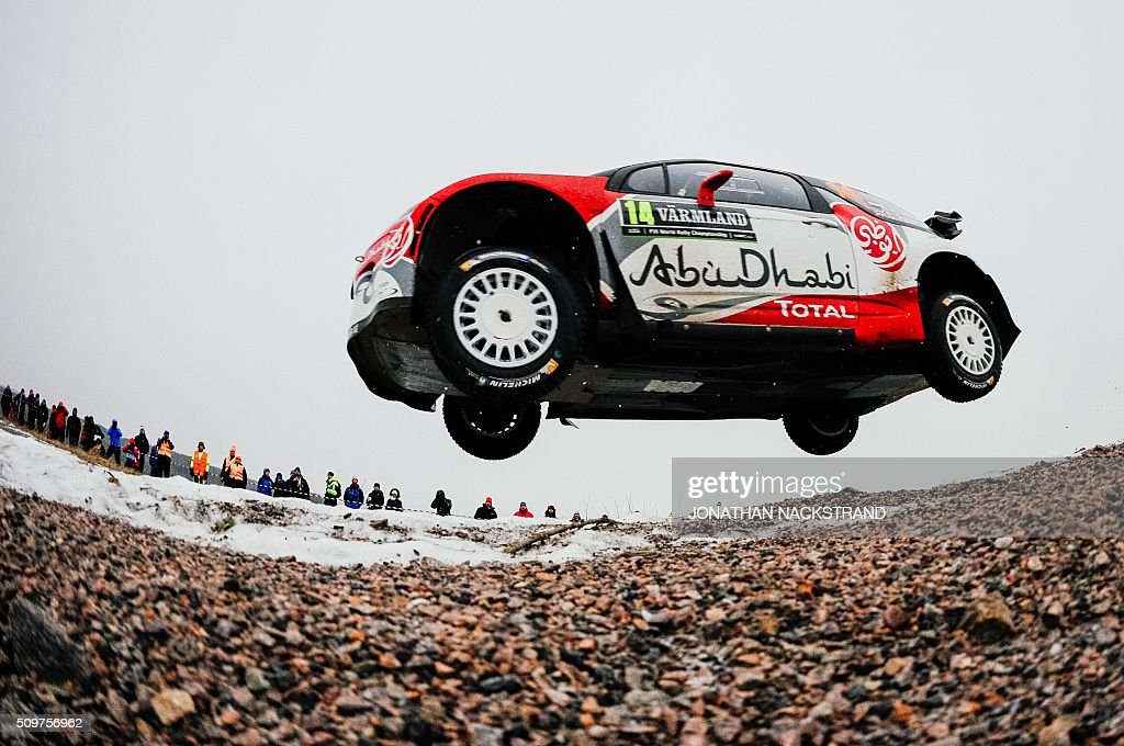 Sheikh Khalid Al Qassimi of the United Arab Emirates and his co-driver Chris Patterson of Britain steer their Citroen DS3 WRC during the 2nd stage of the Rally Sweden, second round of the FIA World Rally Championship on February 12, 2016 in Torsby, Sweden. / AFP / JONATHAN NACKSTRAND