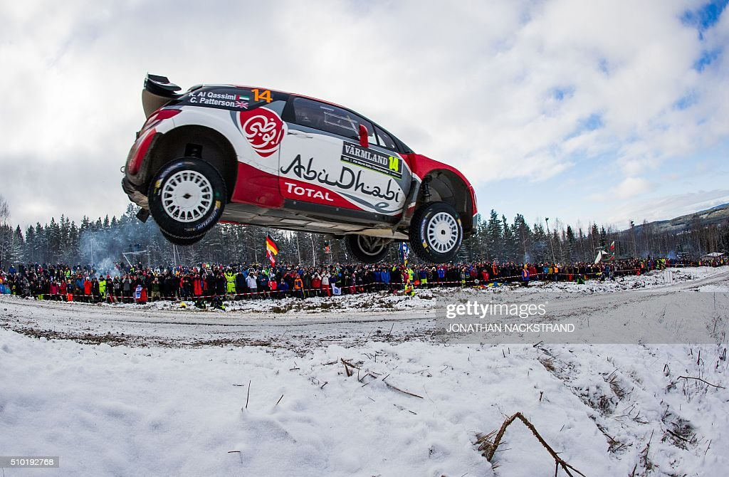 Sheikh Khalid Al Qassimi of United Arab Emirates and his co-driver Chris Patterson of Britain steer their Citroen DS3 WRC during the final stage of the Rally Sweden, second round of the FIA World Rally Championship on February 14, 2016 in Hagfors, Sweden. / AFP / JONATHAN NACKSTRAND