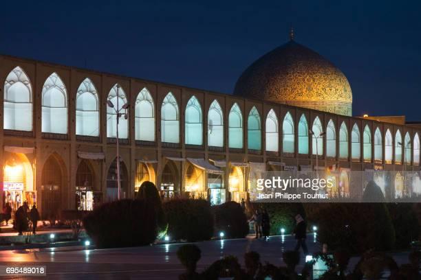 Sheikh Lotfollah Mosque and Naghsh-e Jahan Square at night, Isfahan, Iran